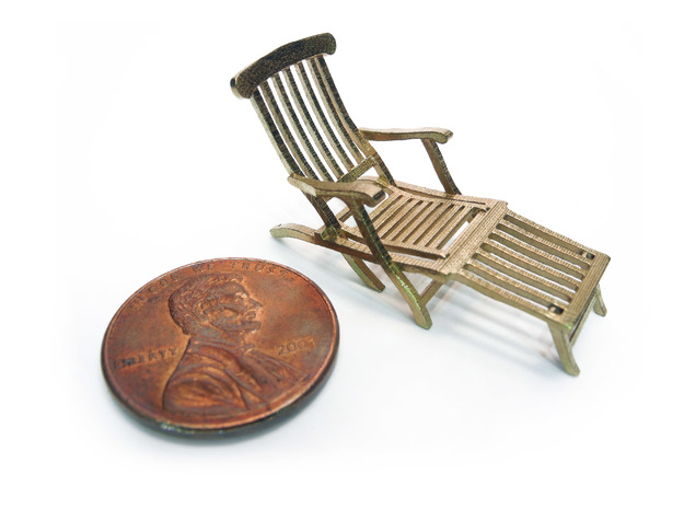 1:48 Titanic Deck Chair 3d printed Printed in Raw Brass