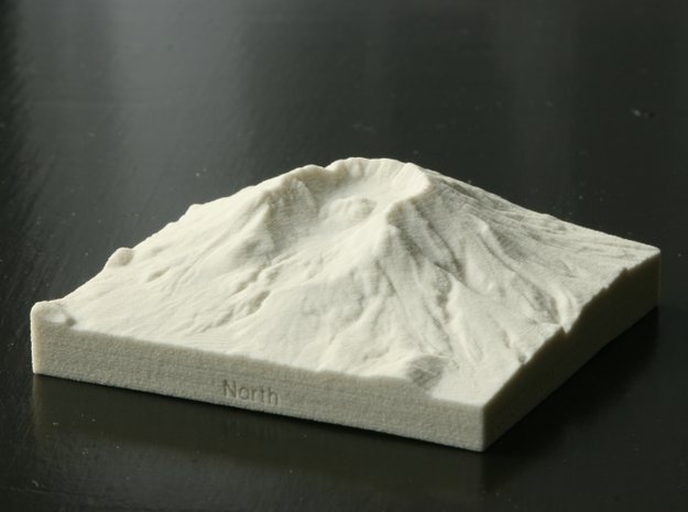 3'' Mt. St. Helens, Washington, USA, Sandstone 3d printed Photo of actual 3D print, view from North