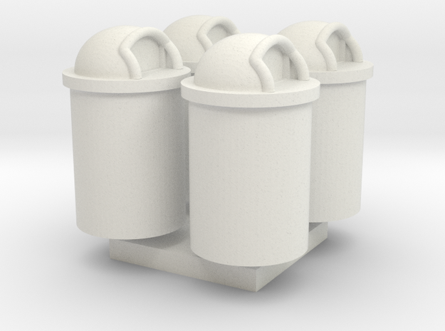 Trash Can 55 Gal HO 87:1 Scale Qty (4) in White Natural Versatile Plastic