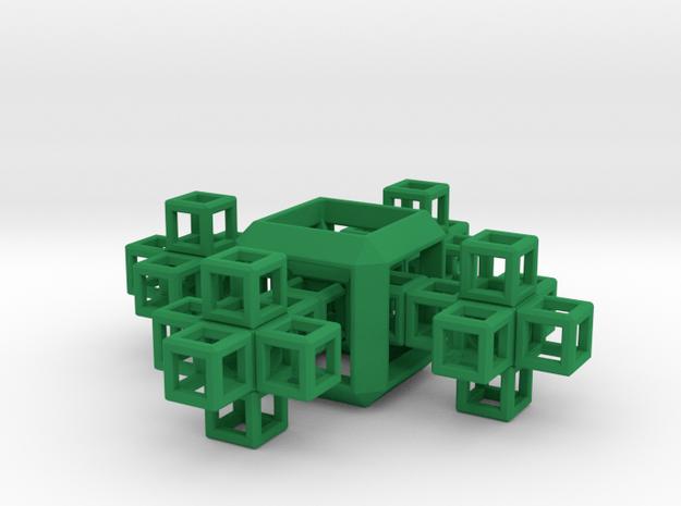 SCULPTURE COLLECTION 4 Crosses 1 HyperCube in Green Processed Versatile Plastic