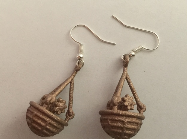 Hanging Basket Earrings in Polished Silver