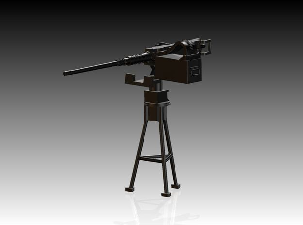 2 x Single Modern 50 Cal Browning on Tripod 1/12 in Smooth Fine Detail Plastic