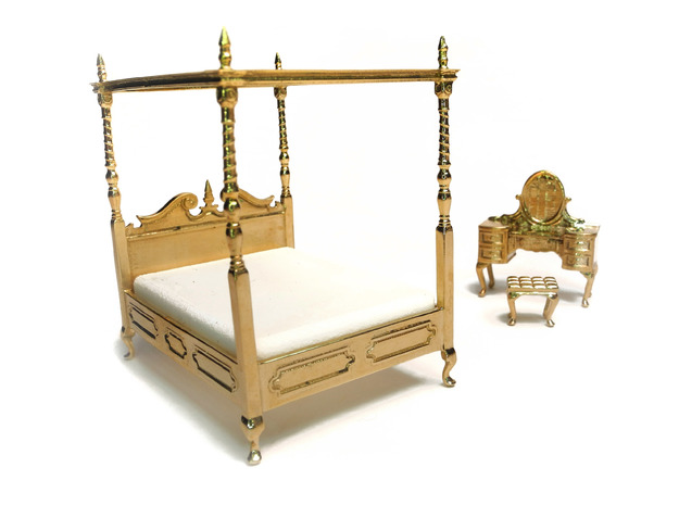 1:48 Four Poster Canopy Bed 3d printed Printed in Polished Brass - Shown with Vanity, sold separately