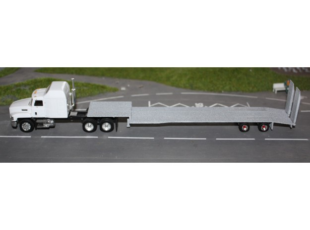 000466 HO Trailer Low loader 1:87 in White Natural Versatile Plastic