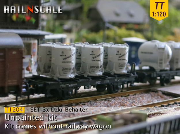 SET 3x Dzkr 501 Behälter (Tillig) (TT 1:120) in Frosted Ultra Detail