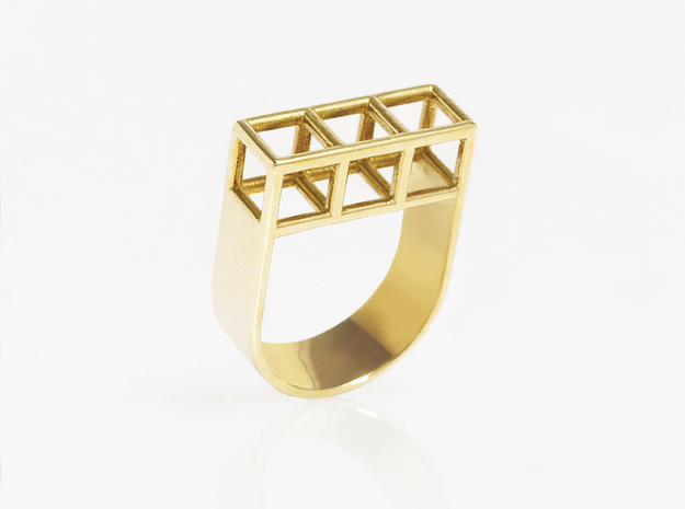 STRUCTURE Nº 3 RING in 14k Gold Plated Brass: 7.5 / 55.5