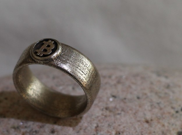 Bitcoin Ring (BTC) - Size 11.0 (U.S. 20.57mm dia) in Polished Bronzed Silver Steel