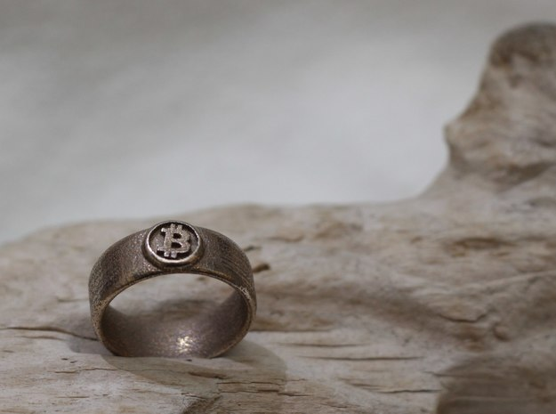 Bitcoin Ring (BTC) - Size 11.5 (U.S. 20.98mm dia) 3d printed Bitcoin Ring - Stainless steel