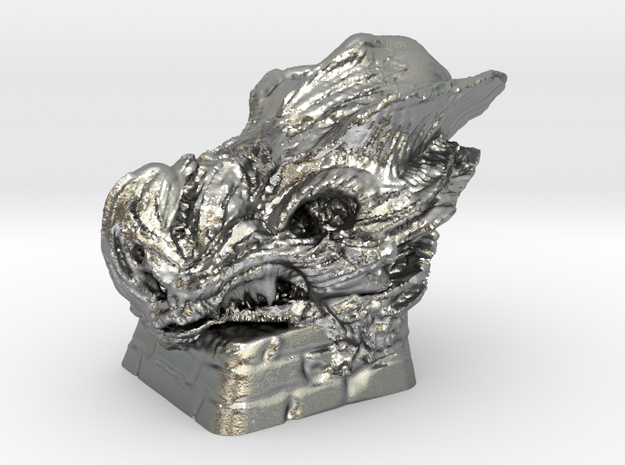 DragonSkull Keycap in Natural Silver