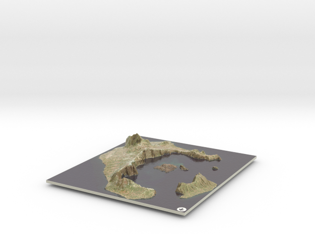 Santorini Map, Greece in Glossy Full Color Sandstone