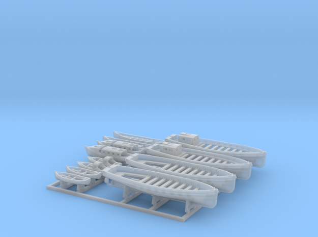 1/500 WW2 RN Boat Set 2 with Mounts in Smoothest Fine Detail Plastic