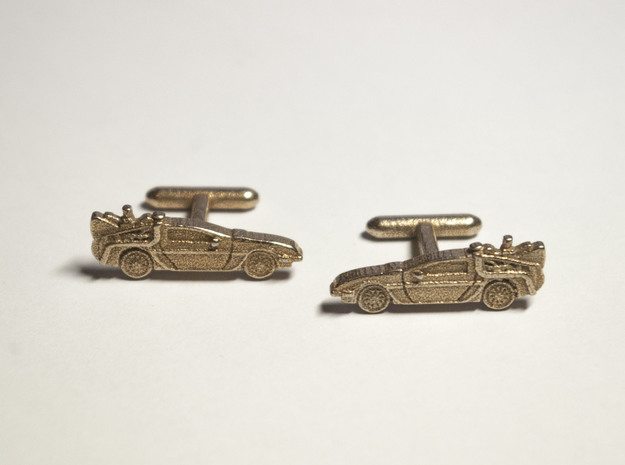 Back to the Future's Delorean: cufflinks 3d printed Stainless steel Delorean Cufflinks