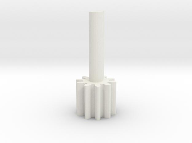 Cylindrical gear Mn1 Z10 Alfa20 Beta0 B10 Single H in White Natural Versatile Plastic