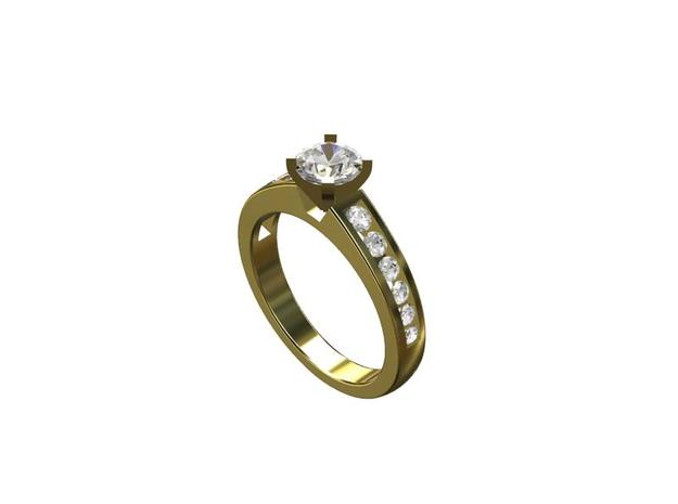 CCW17 Engagement Ring With Sides  in Smooth Fine Detail Plastic