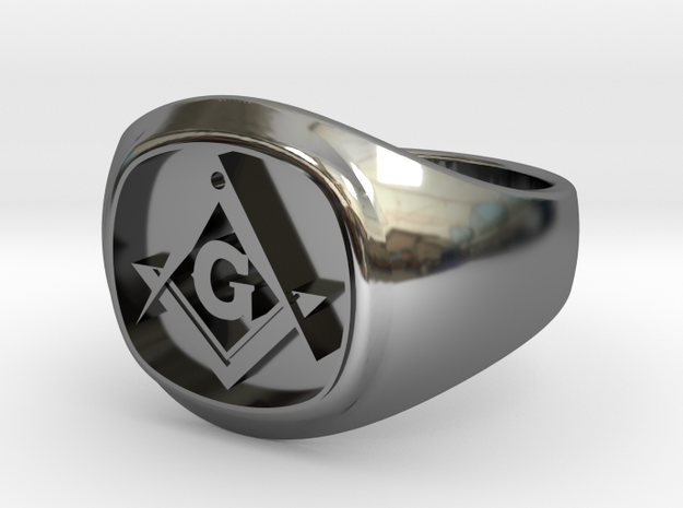 Masonic Signet ring  in Fine Detail Polished Silver: 9.5 / 60.25