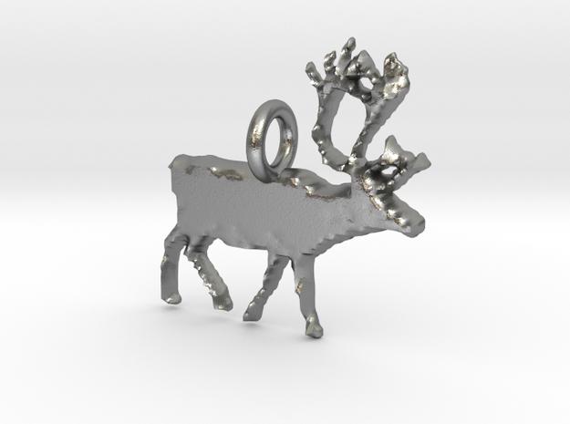 Reindeer Pendant in Natural Silver