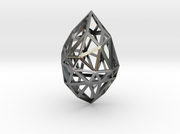 Geometric pendant 'Rough Diamond' (small) 3d printed