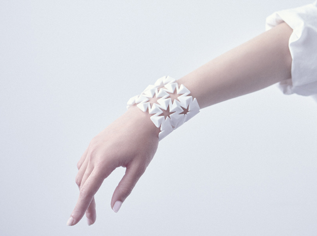 Bangle Auxetic in White Strong & Flexible