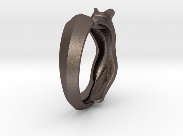 Cat Ring 3d printed This material is Polished Silver , Patinated This material is Polished Silver