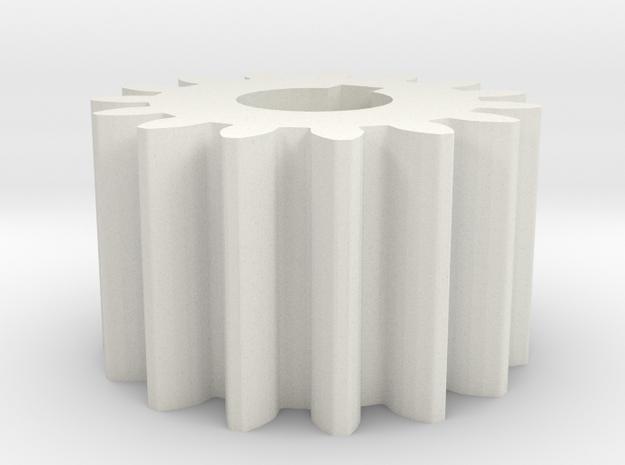 Cylindrical gear Mn=1 Z=15 AP20° Beta0° b=10 HoleØ in White Natural Versatile Plastic