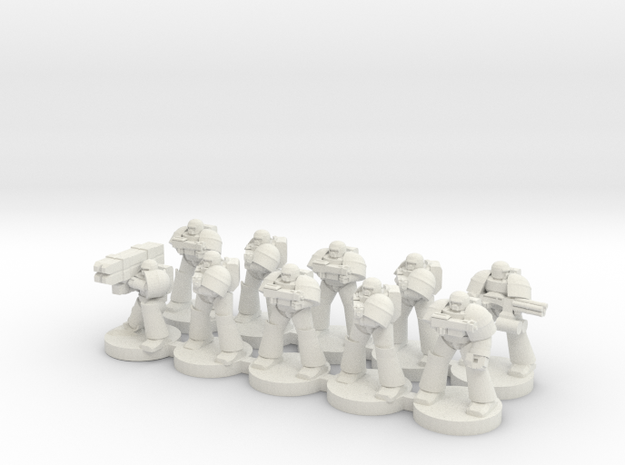 8mm Super Soldiers in Warrior Plate (squad) in White Natural Versatile Plastic