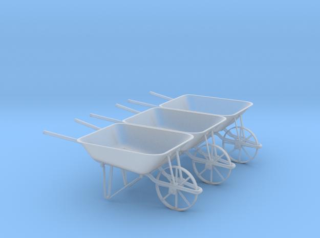 Wheelbarrow Set of 3 in Frosted Ultra Detail: 1:24