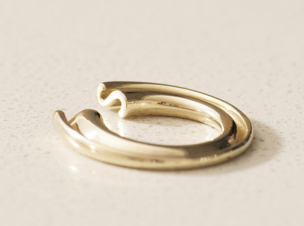 S Letter Ring in Polished Brass
