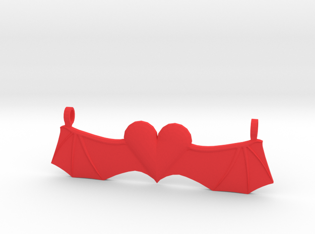 Devil-Winged Heart in Red Processed Versatile Plastic