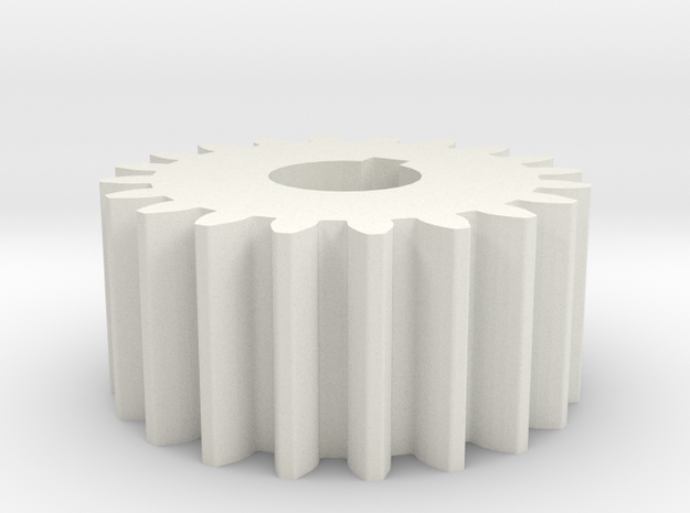Cylindrical gear Mn=1 Z=20 AP20° Beta0° b=10 HoleØ in White Natural Versatile Plastic