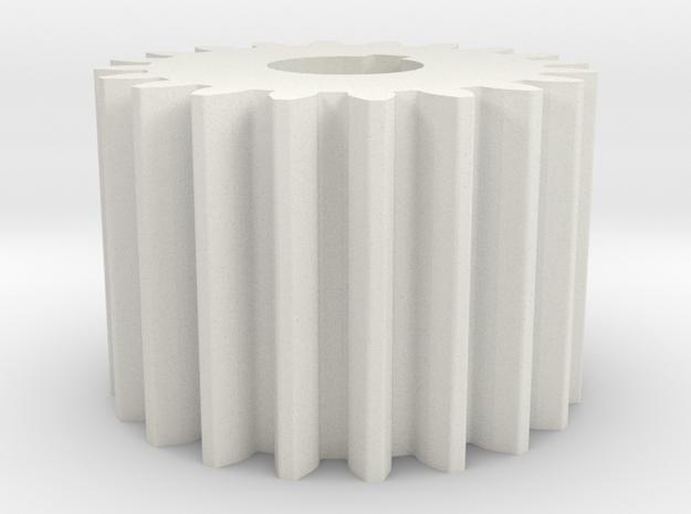 Cylindrical gear Mn=1 Z=20 AP20° Beta0° b=15 HoleØ in White Natural Versatile Plastic