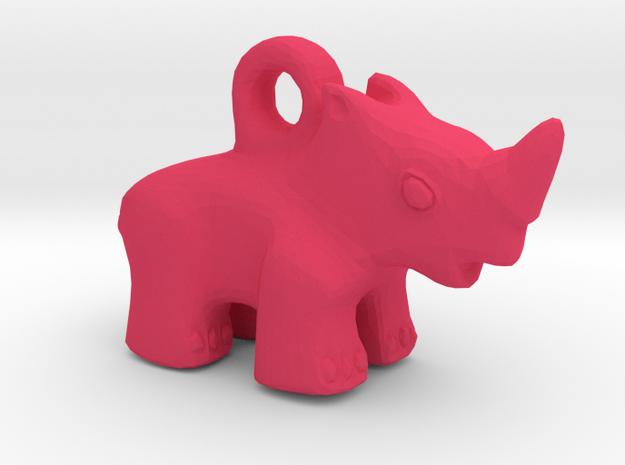 Baby Rhino Pendant in Pink Processed Versatile Plastic