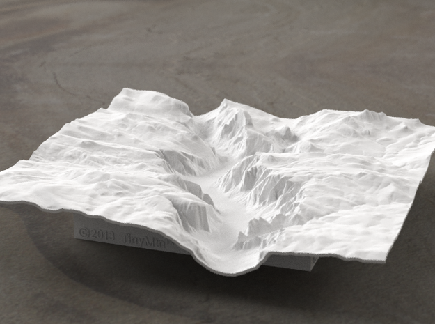 6'' Yosemite Valley Terrain Model, California, USA 3d printed Yosemite valley model rendered in Radiance, viewed from the West, past El Capitan and toward Half Dome.