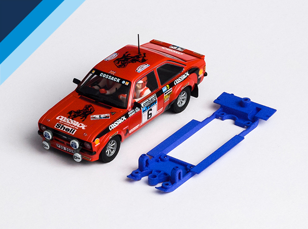 1/32 SCX Ford Escort RS1800 Chassis Slot.it pod in Blue Strong & Flexible Polished