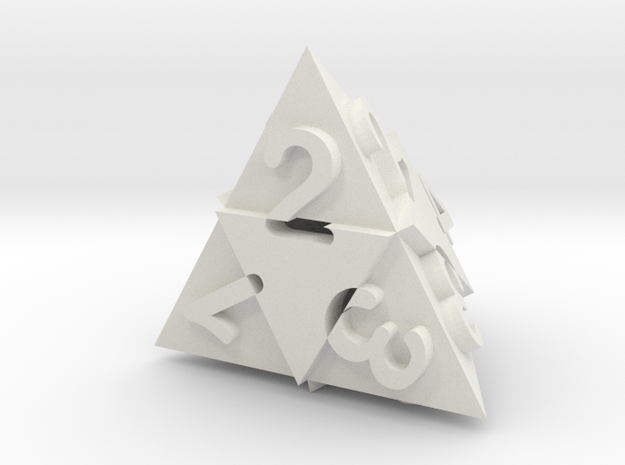 Optical Art D4 Dice in White Natural Versatile Plastic