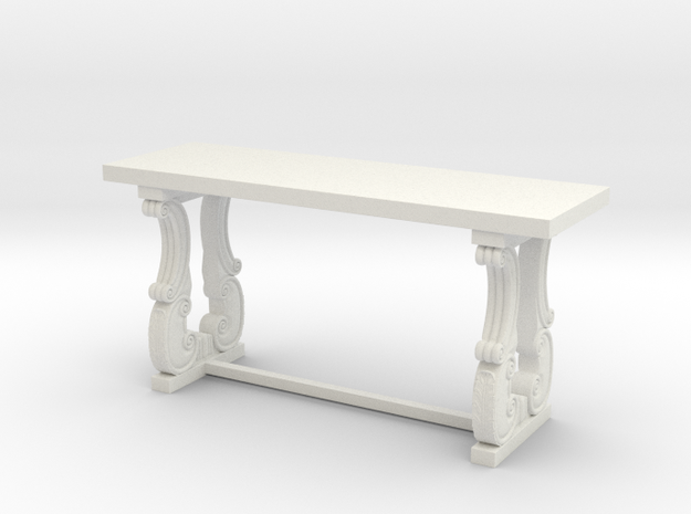 Decorative French Console Table in White Natural Versatile Plastic: 1:48