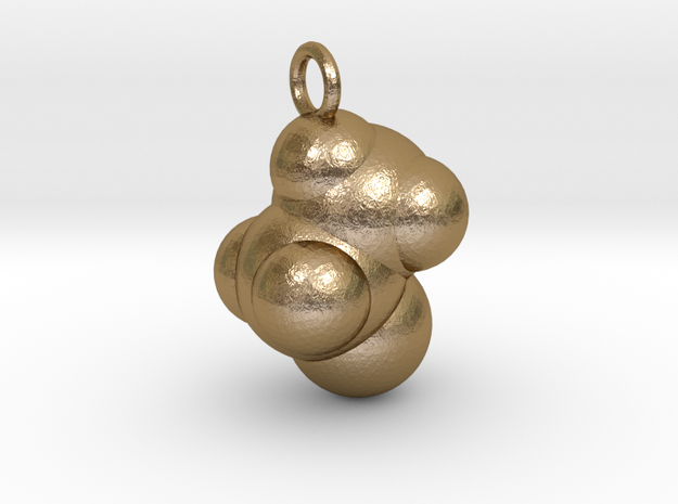 Ethanol CPK With Ring in Polished Gold Steel