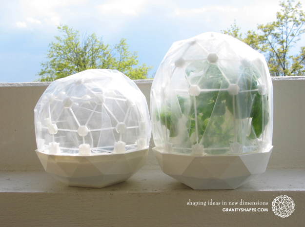 Flexible Mini Greenhouse-Dome Set with Pot (short) in White Strong & Flexible