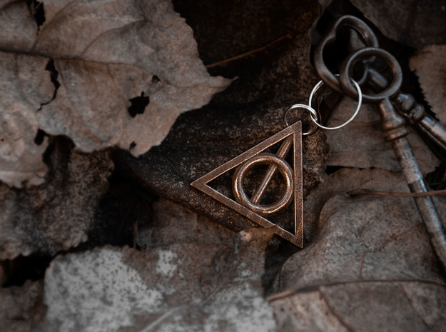 Deathly Hallows keychain in Polished Bronze Steel