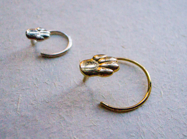 Cat or Dog Paw Earring in 14k Gold Plated Brass: Small