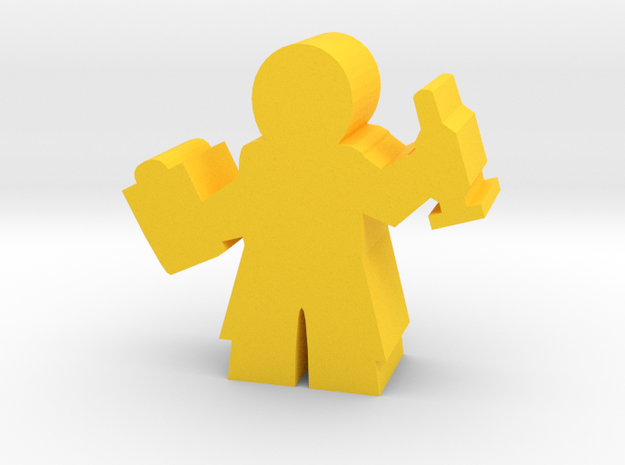 Doctor Meeple, with Clipboard and Needle in Yellow Processed Versatile Plastic