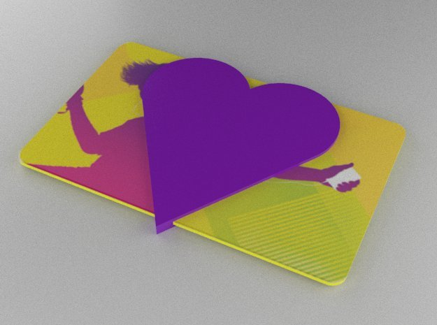 Gift Card Holder Heart Solid in Purple Processed Versatile Plastic