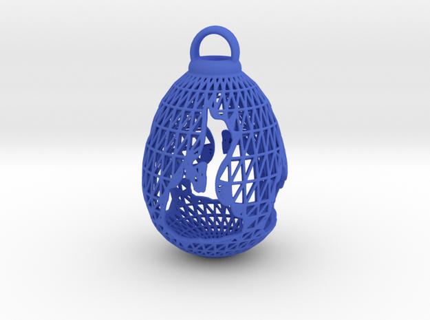 3D Printed Block Island Egg Ornament in Blue Processed Versatile Plastic