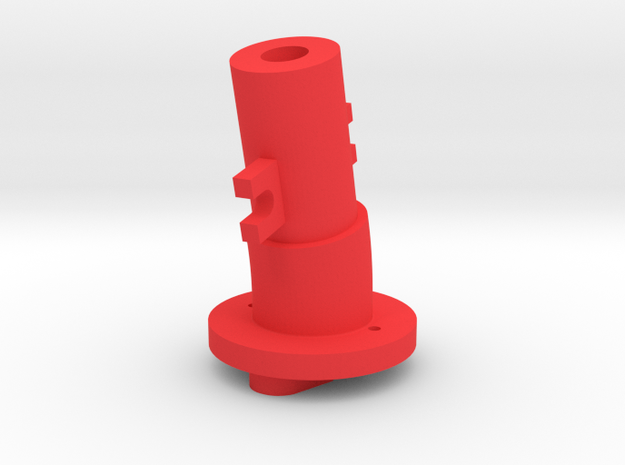 Thrustmaster joystick tailpiece, 13 deg. angle in Red Strong & Flexible Polished
