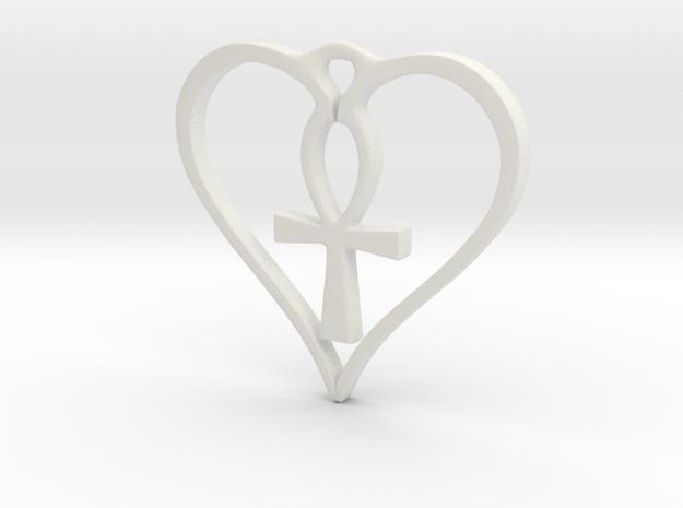 Heart Ankh Pendant in White Natural Versatile Plastic