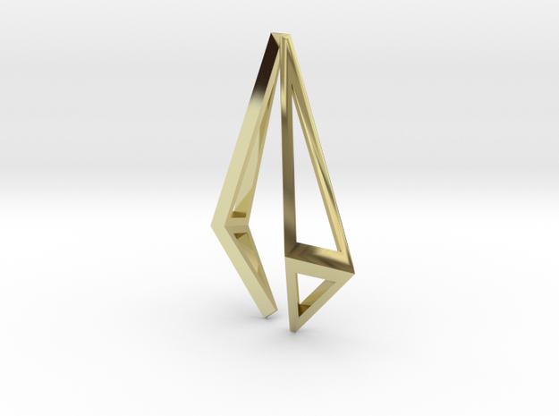 HIDDEN HEART Origami Structure, Pendant  in 18K Gold Plated