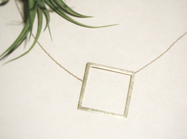 Square Pendant in Raw Brass