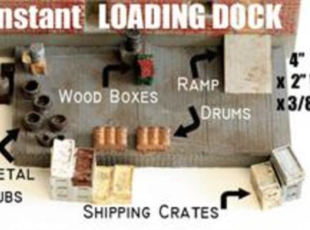 HO Scale Detail, Loading/Freight Dock with Freight in White Natural Versatile Plastic