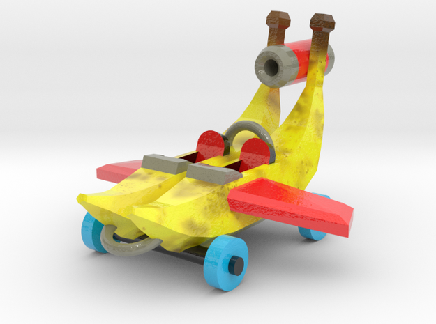 Flying Banana Car in Glossy Full Color Sandstone: Large