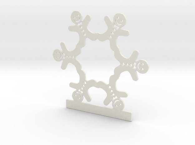 Customizable Gingerbread Man Snowflake Ornament in White Strong & Flexible