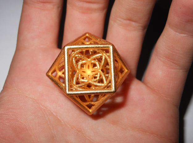 Cuboctahedron With Flower Of Life in Matte Gold Steel